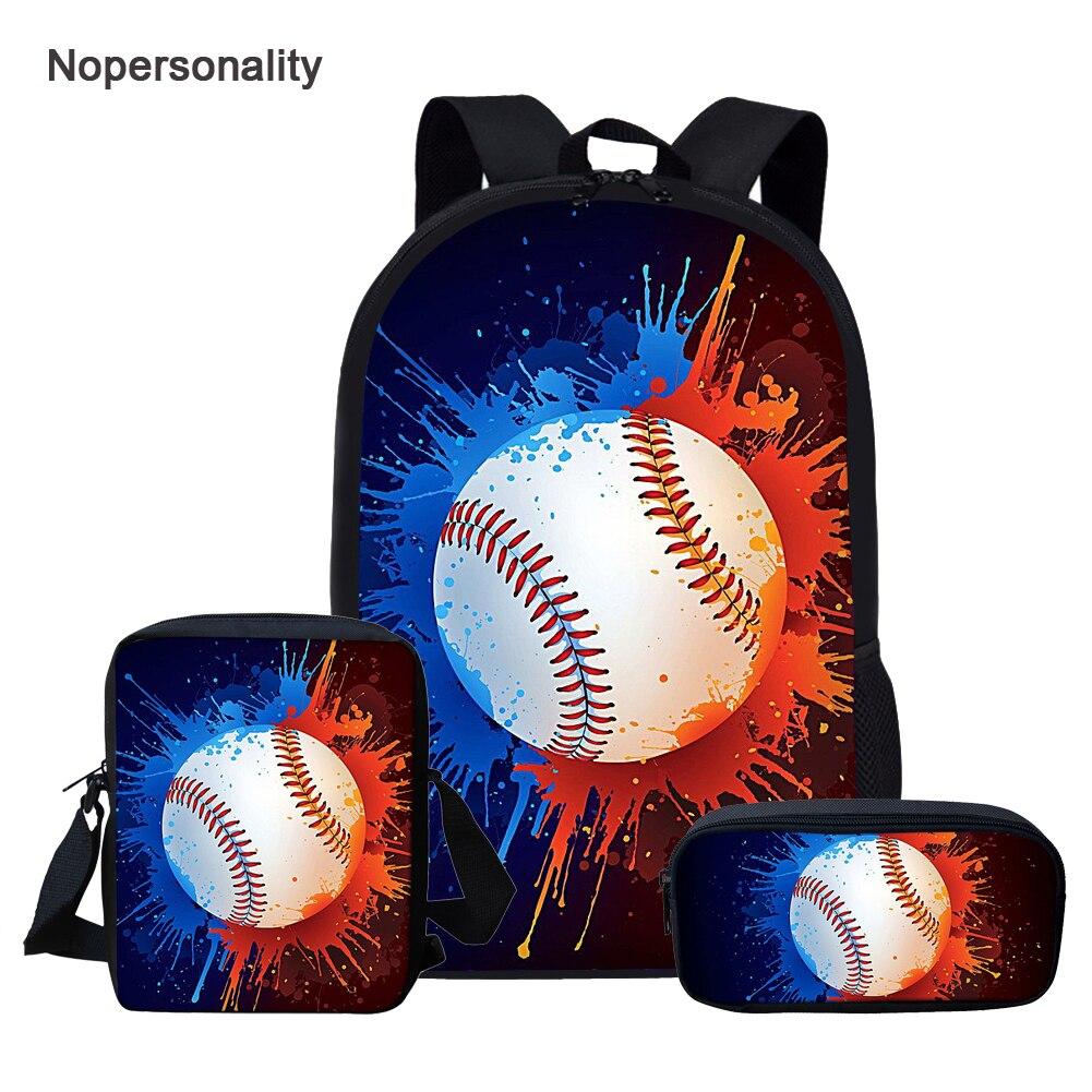 Nopersonality Escuela Secundaria niños mochila escolar conjunto colorido béisbol niños mochila ortopédica niños Bookbags 16 pulgadas