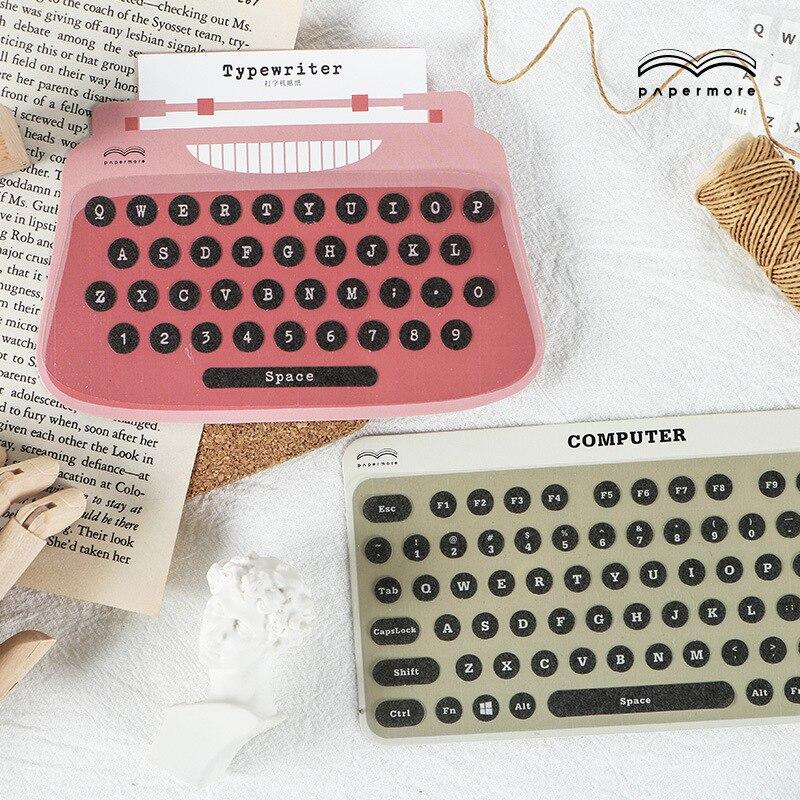 1 paquete de pegatinas de papel Retro con forma de teclado para impresora, álbum de recortes para manualidades DIY, diario no deseado, planificador feliz, pegatinas decorativas