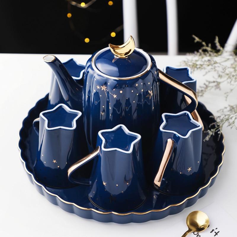 كوب مجموعة الأسرة الشمال الفاخرة إبريق الشاي مجموعة المياه كوب السيراميك فنجان الشاي طقم شاي غرفة المعيشة مع علبة هدية