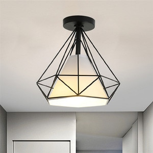 Vingtage Country LED Ceiling Lamp Diamond Iron Colth Lampshade  Living Bedroom Kitchen Contemporary Lighting Fixture Decoration