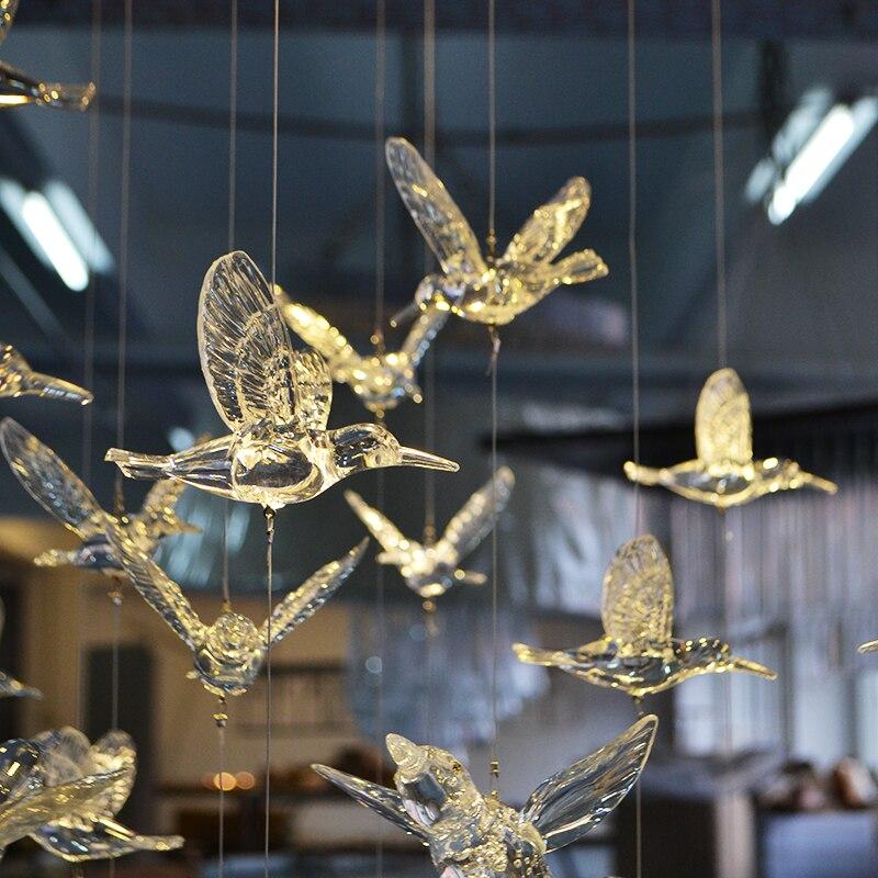 زخرفة جدارية شفافة من الكريستال الأكريليكي على شكل طائر طنان ، 18 قطعة ، معلقة في السقف ، خلفية مسرح الزفاف ، زينة الحفلات