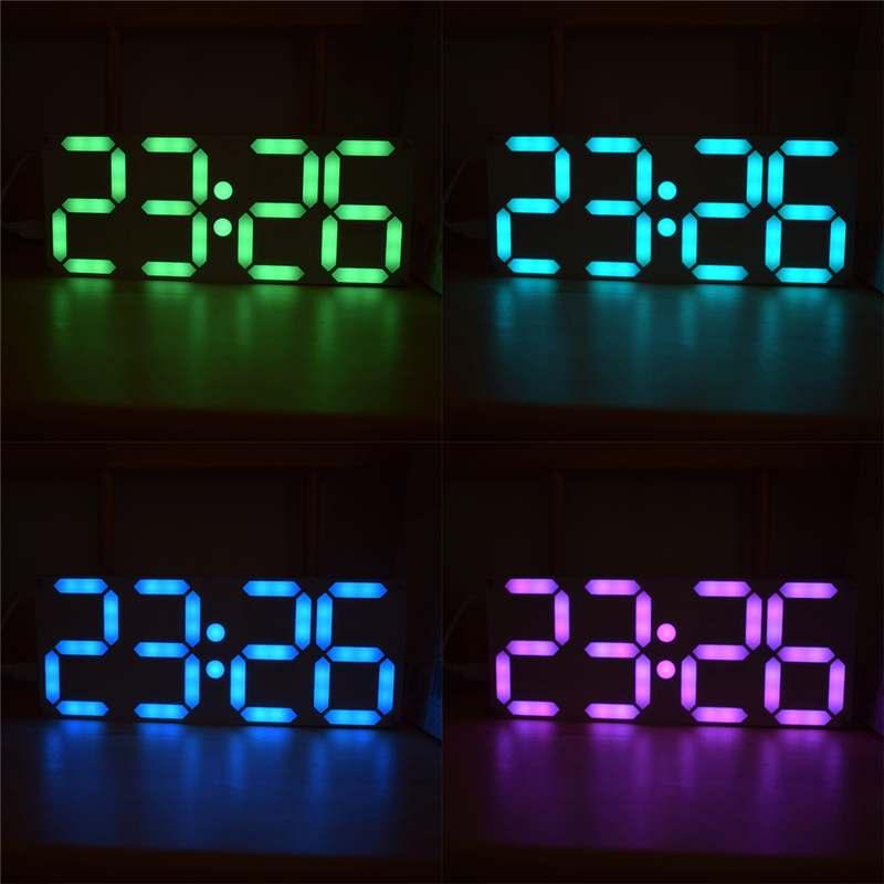 Tamanho grande arco-íris cor tubo digital ds3231 relógio diy kit display digital cor ajustável funções abundantes efeitos