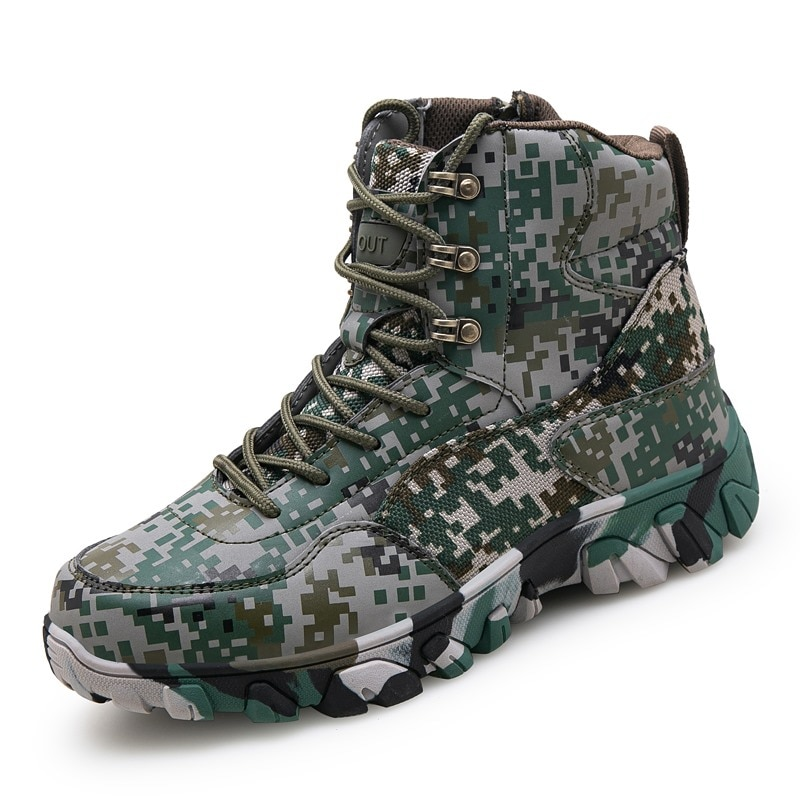 Outdoor Hiking Shoes Army Military Tactical Combat Boots Mountain Sneakers Men Anti-slip Rubber Sole Sport Winter Climb  Shoes