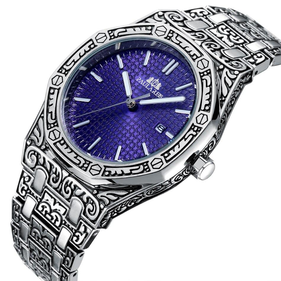 Men Carved Antique Vintage Luminous Rose Gold Yellow Gold Silver 2 Tones Fashion Blue Classic Quartz luxury watch