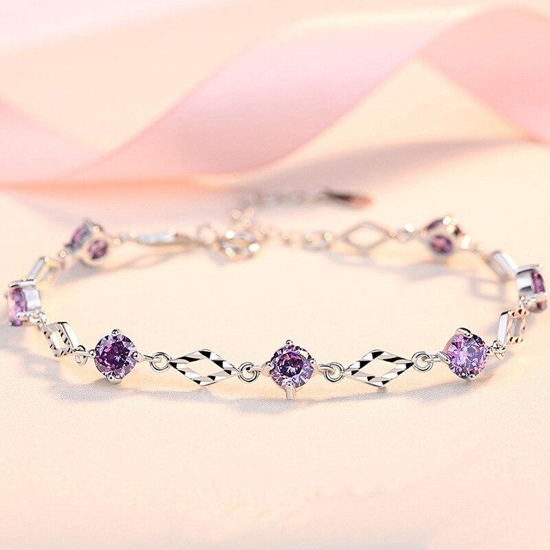 925 czysta srebrna bransoletka uczeń dziewczyna koreański styl fioletowy kryształ prosta cyrkonia montaż biżuterii prezent na walentynki