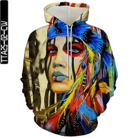 wax figure art oil painting 3d hoodie casual pullover loose sportswear oversized hip hop jogging workout wear mens clothing top