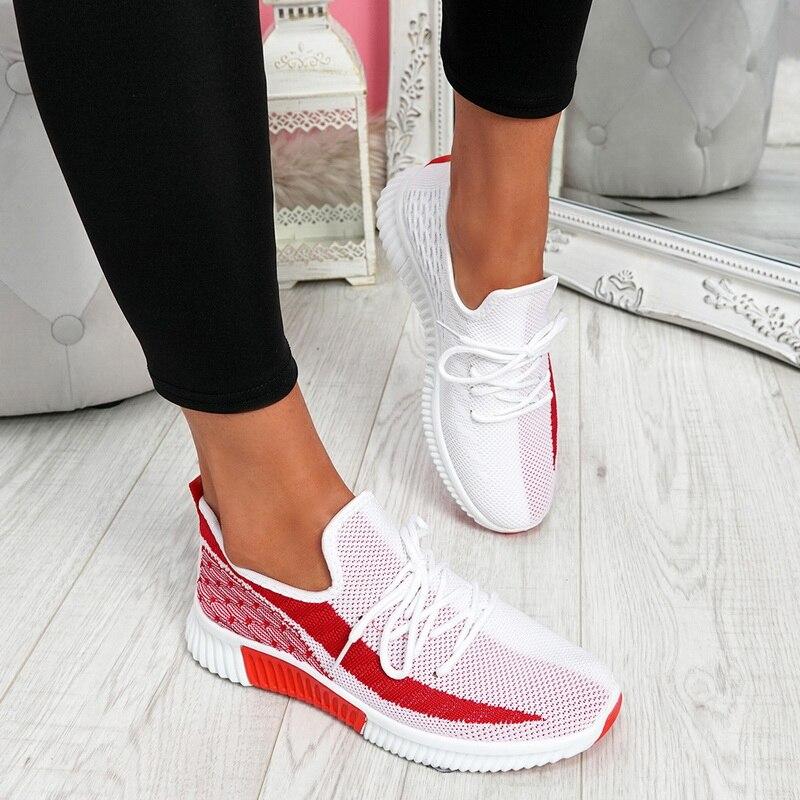 2021 Women's Vulcanized Female Lace Up Mesh Sneakers Shoes Round Toe Casual Walking Shoes Mesh Flat