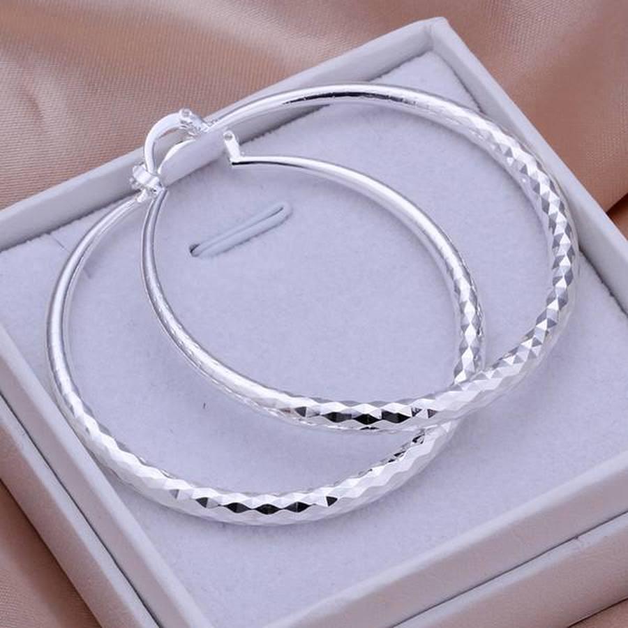 AliExpress - 925 Sterling Silver big Earring women lady 5cm circle top quality fashion wedding beautiful women Jewelry free shipping