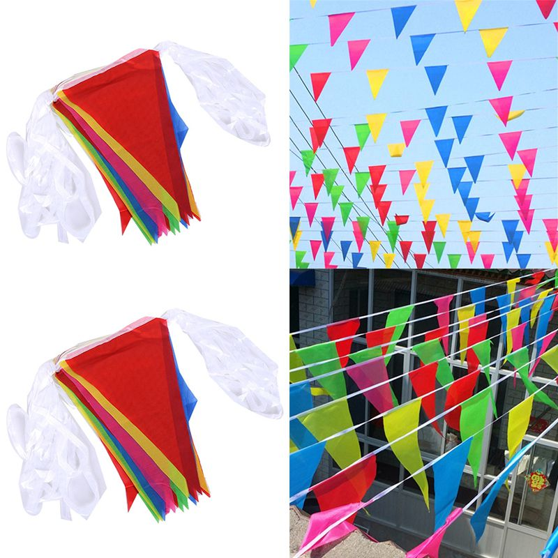 Multicolor Pennant Flags Bunting Party Banner Triangle Garland for Event Home Garden Wedding Shop St