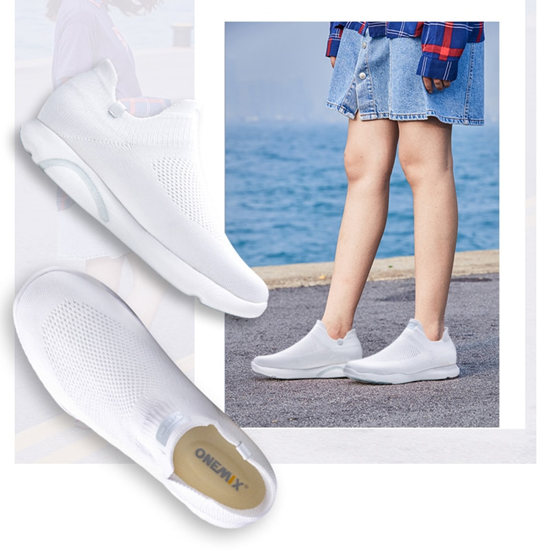 Купить с кэшбэком ONEMIX 2020 New Arrival Men Sports Sneakers Sock Shoes Breathable Mesh Trainers Lightweight Slip On Tenis Shoes Walking Sneaker