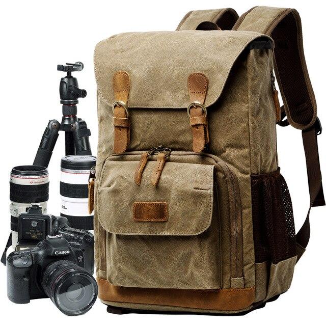 Batik Canvas Camera Backpack Outdoor Waterproof Bag Multi-functiona Photography Bag for Canon Nikon Sony Digital SLR Bag
