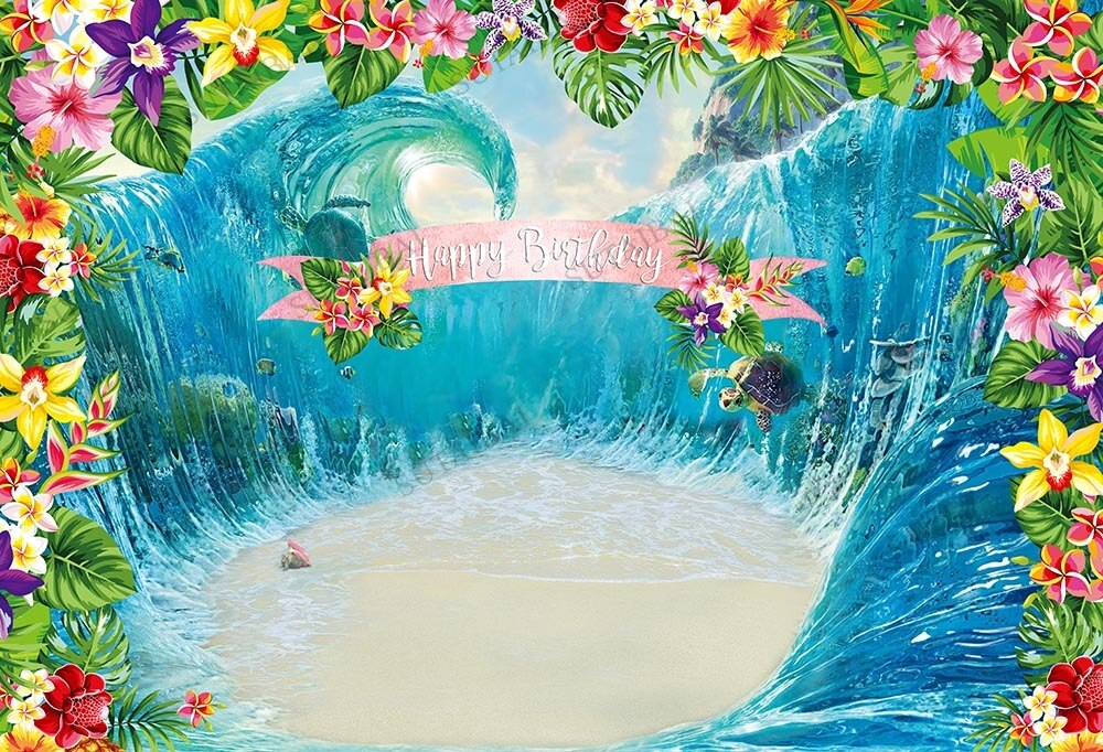 Summer Ocean Backdrop Baby Shower Photographic Backdrops Baby Shower Kids Photo Booth Custom Background Photography Vinyl enlarge