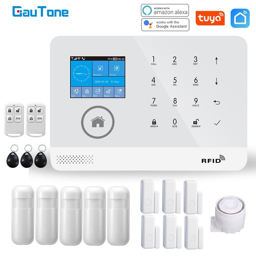 GauTone-نظام إنذار أمان منزلي مع بطاقة RFID ، مستشعرات حركة ، wi-fi ، PG103 ، tuya ، التحكم في تطبيق Smart Life ، جديد