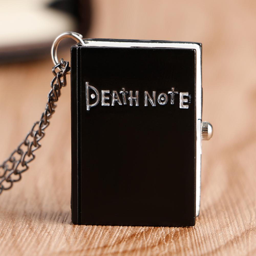 Hot Japanese Death Note Shape Black Suqare Quartz Pocket Watch For Men Small Little Necklace Childre