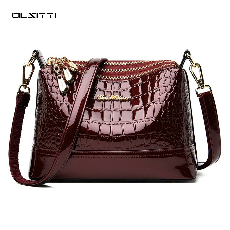 OLSITTI New Stone Pattern Multiple Zippers Fashion Patent Leather Shoulder Bags for Women 2021 Handb