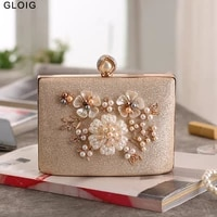 sequined flower shell evening bags beading bucket design party handbags pearl wedding bridal female purse