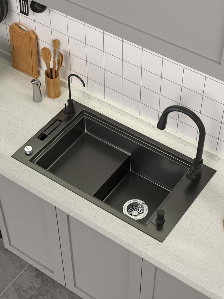 صعدت تصميم حوض مطبخ ستنلس ستيل التحكم في الصرف من كونترتوب Topmount حوض وعاء واحد مع حامل سكين