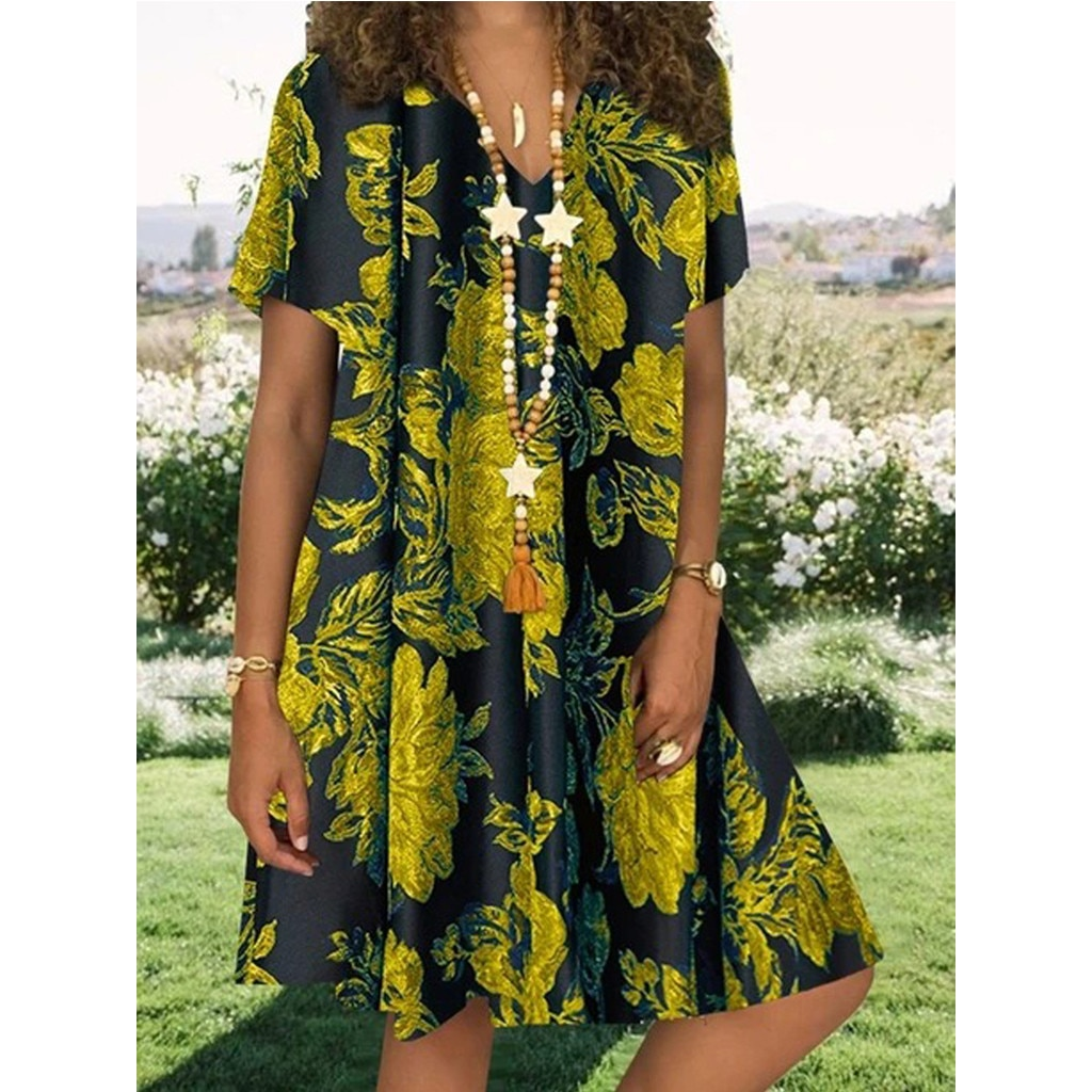 40# Women Vintage Floral Print Plus Size Dress Casual Loose Summer Dress V-neck Short Sleeve Mini Dr