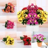 5 fork artificial flowers simulation pansy flower silk fake flower silk bouquet for diy home festival wedding decoration pansy