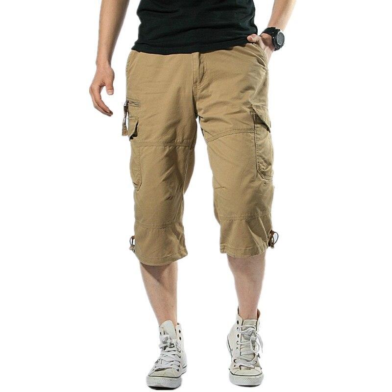 Male Shorts Multi Pocket Summer Loose Zipper Breeches Khaki Grey Plus Size Short Pant Casual Cotton Black Long Mens Cargo