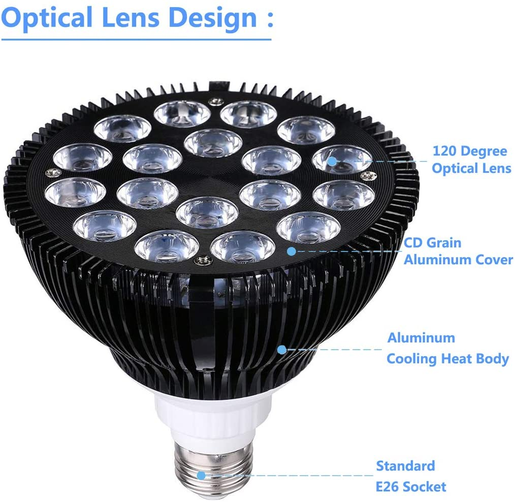 8PC 660nm 850nm 36W Led Black Light Bulb E26 PAR38 Light In The Dark 395nm LED Festival Decoration Acrylic Inverted Light enlarge