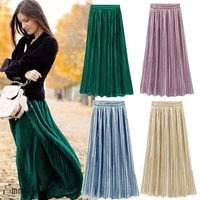 gooheer 4 colors high quality women vintage metallic long midi pleated skirt stretch high waist casual fashion long skirt