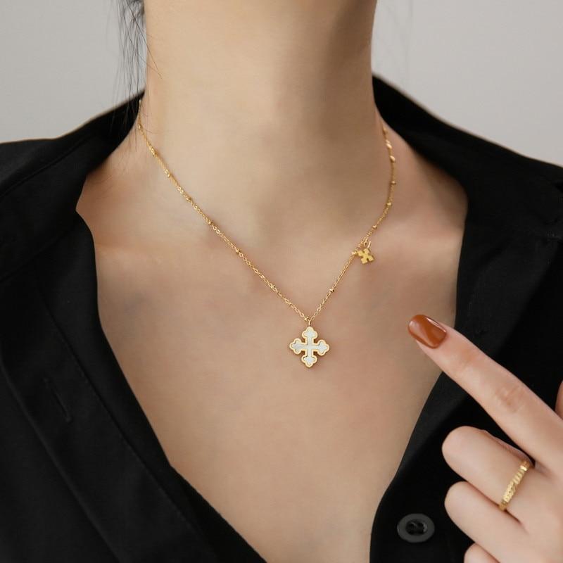 YUN RUO 2020 Trend 14 K Gold Farbe Kreuz Anhänger Halskette Frau Mode Titan Stahl Schmuck Geschenk Nie Verblassen Hypoallergen