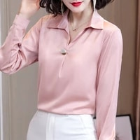 fashion silk women shirts elegant women satin blouse shirt women v neck white blouses shirt plus size womens tops and blouses ol