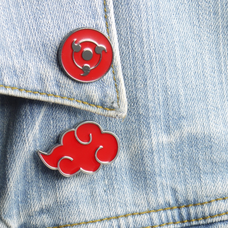 Naruto Sharingan Akatsuki nuage rouge Kunai Shuriken émail broches broche Cosplay accessoires alliage accessoires de costumes