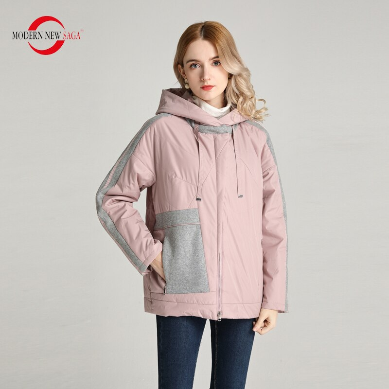 MODERN NEW SAGA 2020 Spring Women Jacket Thin Padded Jacket Polyester Autumn Women Coat Hooded Female Patchwork Woman Jackets