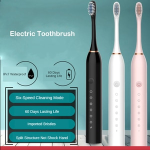 Sonic Electric Toothbrushes Adults Smart Timer USB Rechargeable Whitening Toothbrush IPX7 Waterproof Washable 4 Brush Head