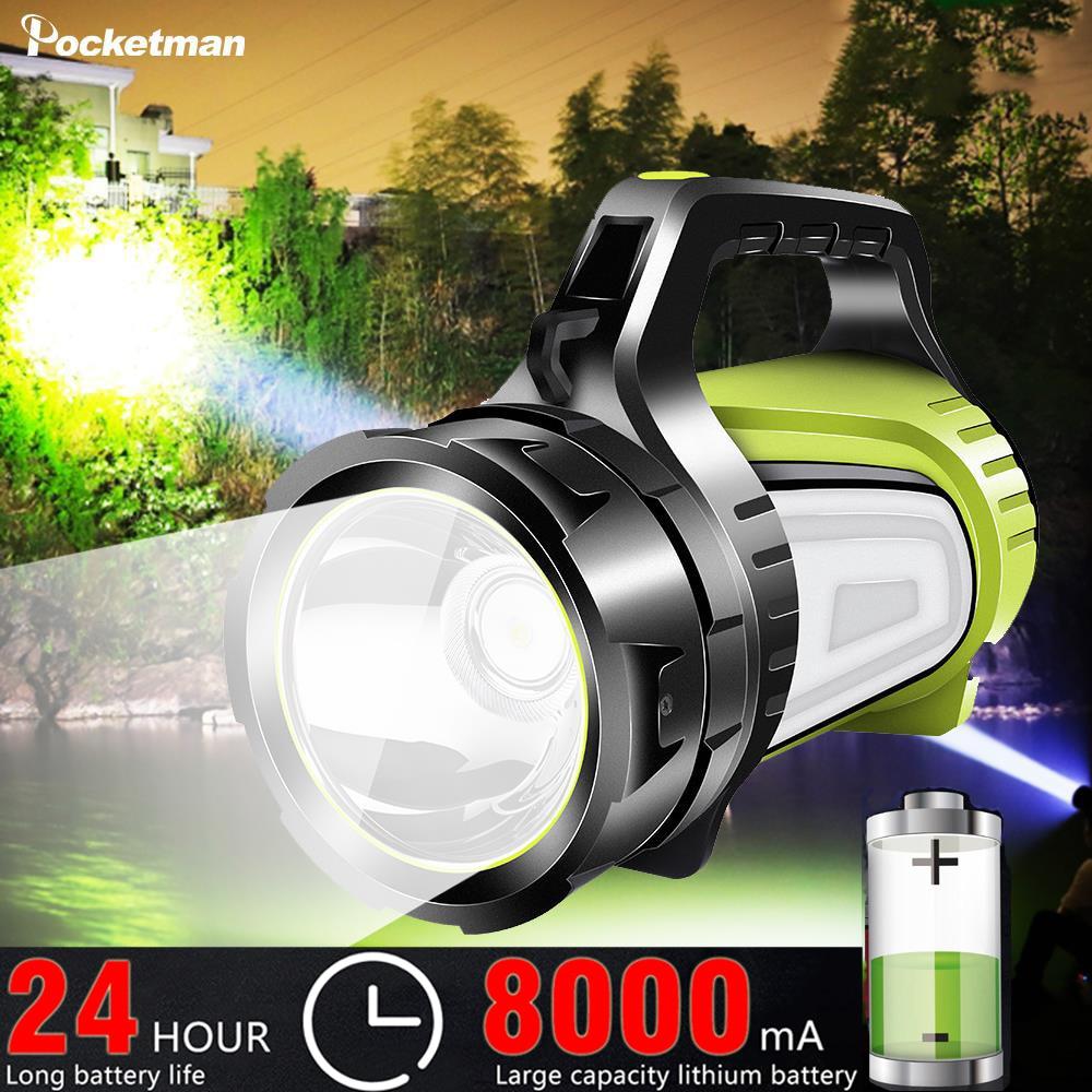 Linterna LED reflector, 2 lados como cargador lateral de luz nocturna, linterna Ultra Larga modo de reposo con lámpara de mano y salida USB