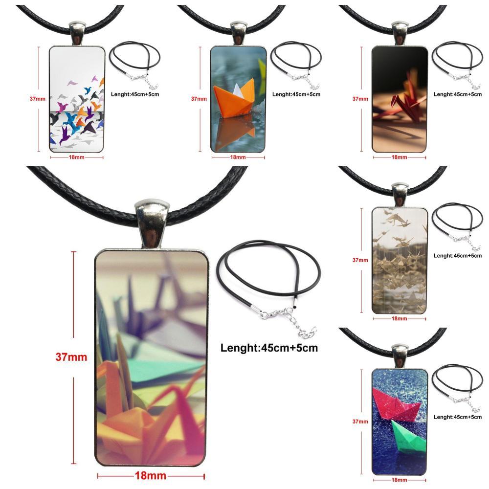 Grullas en origami japonés arte para mujer joyería moda collar hecho a mano forma rectangular gargantilla collar joyería Multi diseños
