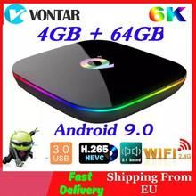 6K Smart TV BOX Android 9.0 4 go de RAM 64 go ROM Allwinner H6 QuadCore USB3.0 2.4G Wifi Youtube Q Plus TVBox lecteur multimédia 2G16G