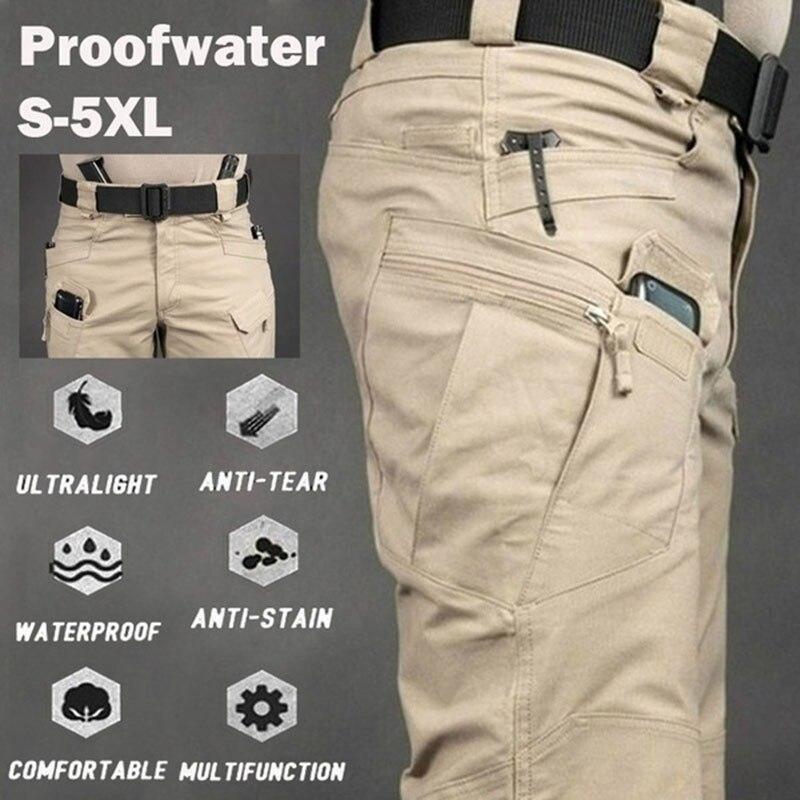 Плюс 6XL мужские тактические брюки с несколькими карманами, военные брюки с эластичной резинкой на талии, мужские повседневные осенне-весенн...