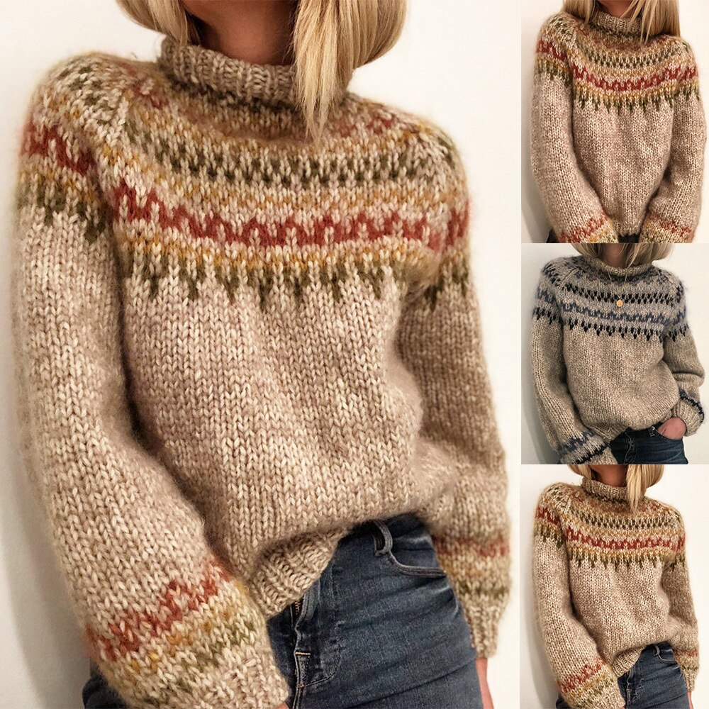 Stripe Loose Autumn Sweater Women 2020 New Elegant Knitted Sweater Oversized Warm Female Pullovers Fashion Keep Warm Tops