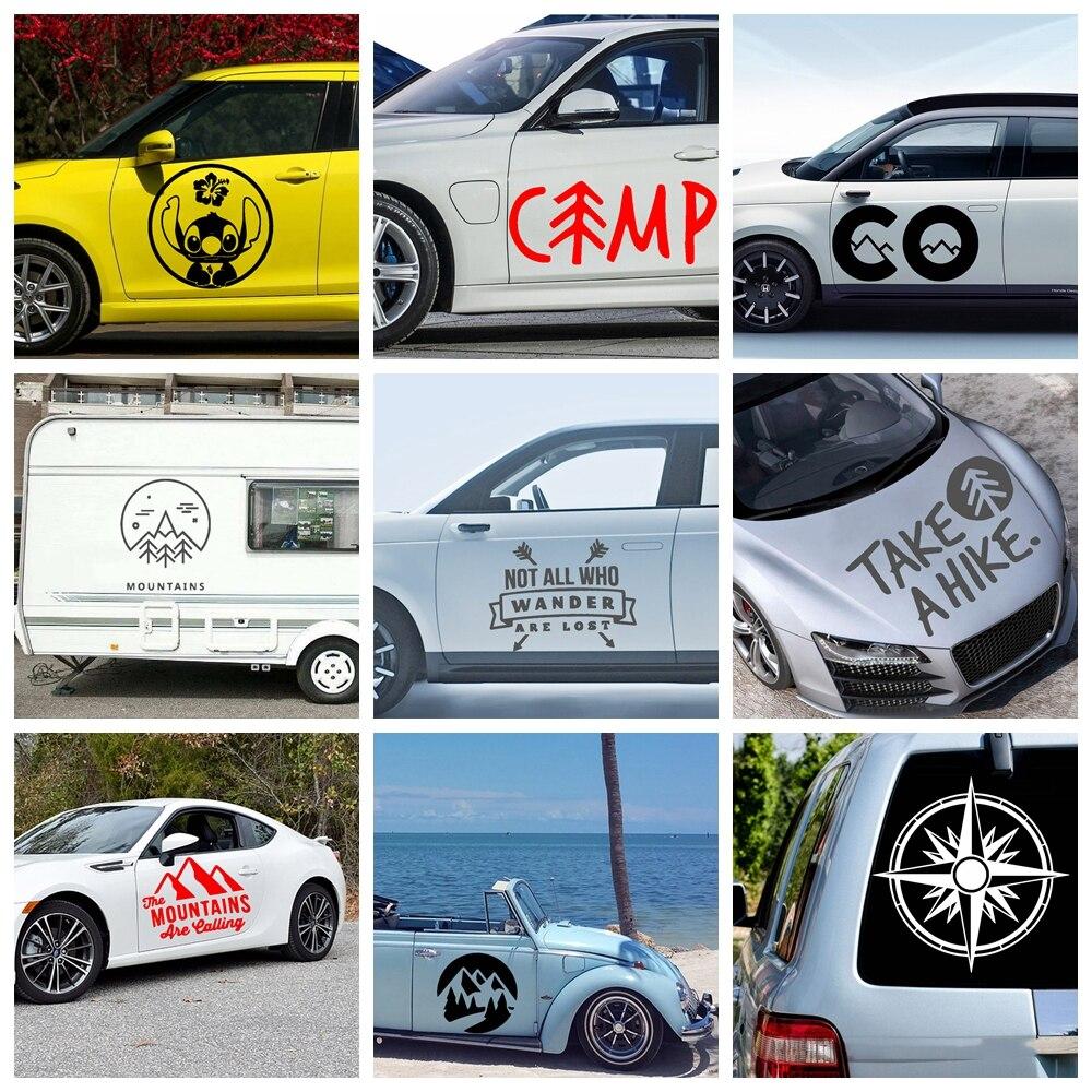 Новый дизайн, автомобильные наклейки с горами и горами, забавные красочные автомобильные наклейки, автомобильные наклейки