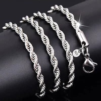 2mm 3mm 4mm silver plated necklaces with stamped fashion jewelry for women men twist rope chains choker