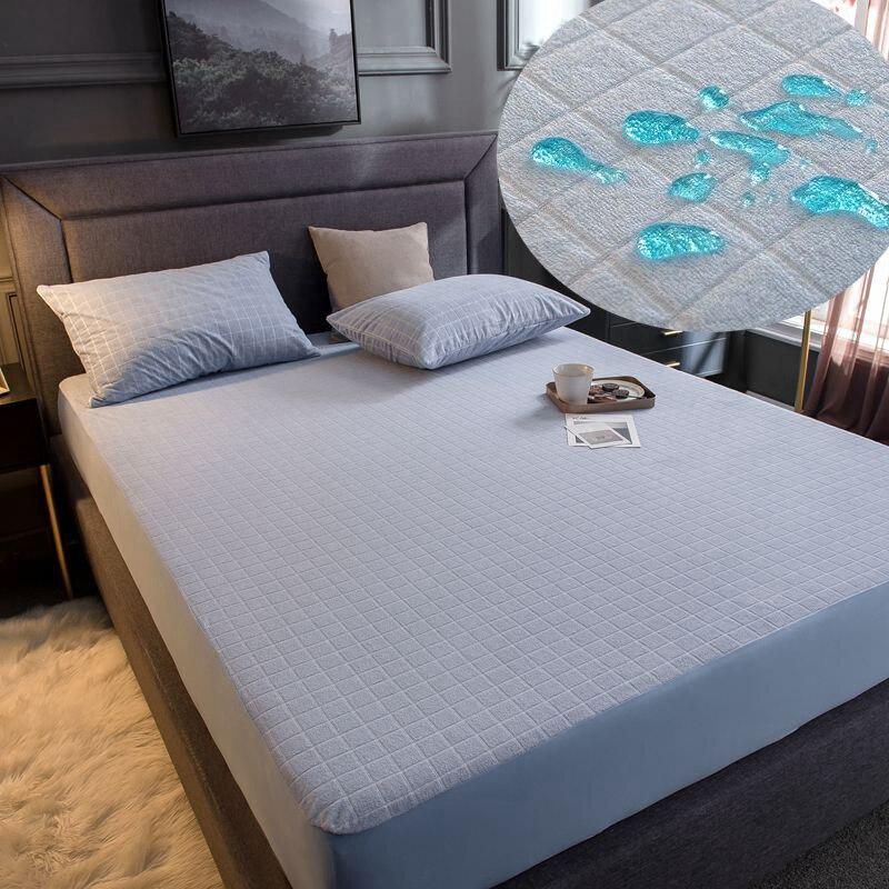 ملاءة سرير من القطن المقاوم للماء ، ملاءة مثبتة صلبة ، غطاء مرتبة كامل ، مقاس فردي أو مزدوج ، واقي مرتبة مقاوم للعث
