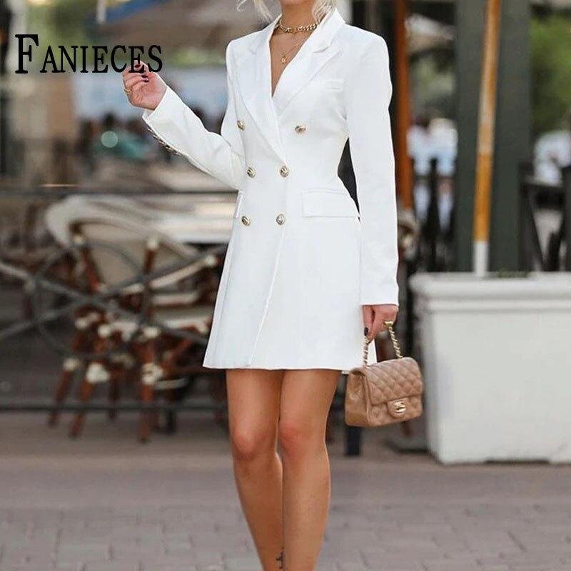 Moda Midi de las mujeres Capa delgada chaqueta doble-breasted abrigos casuales Oficina...