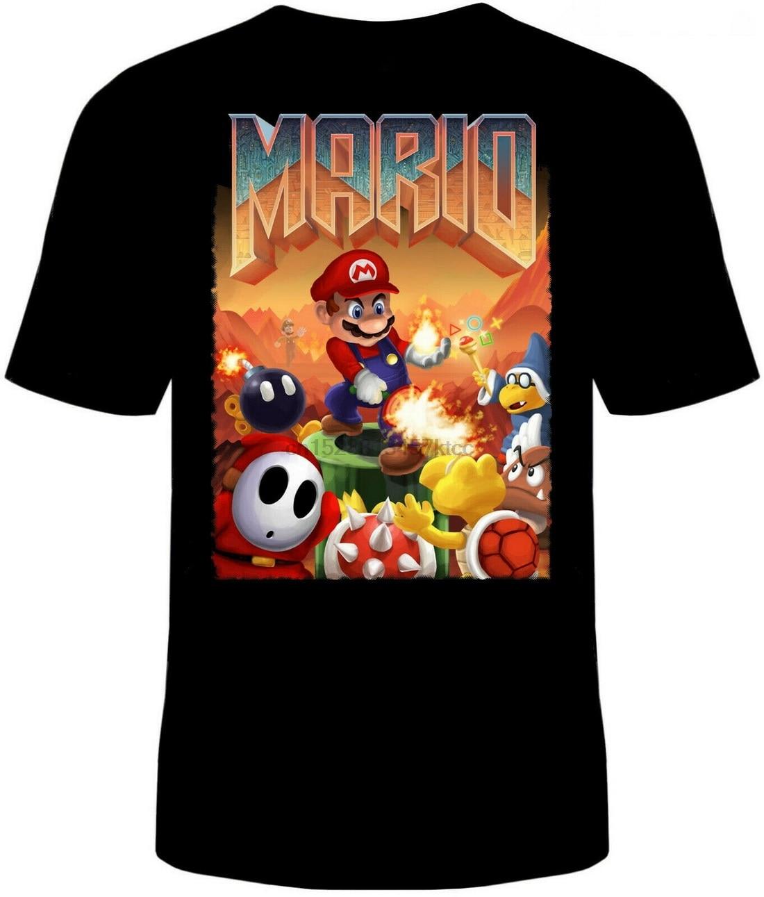 Doom Super Mario Tops camiseta Unisex algodón adulto divertido Video juego Retro Guns nueva camiseta divertida algodón