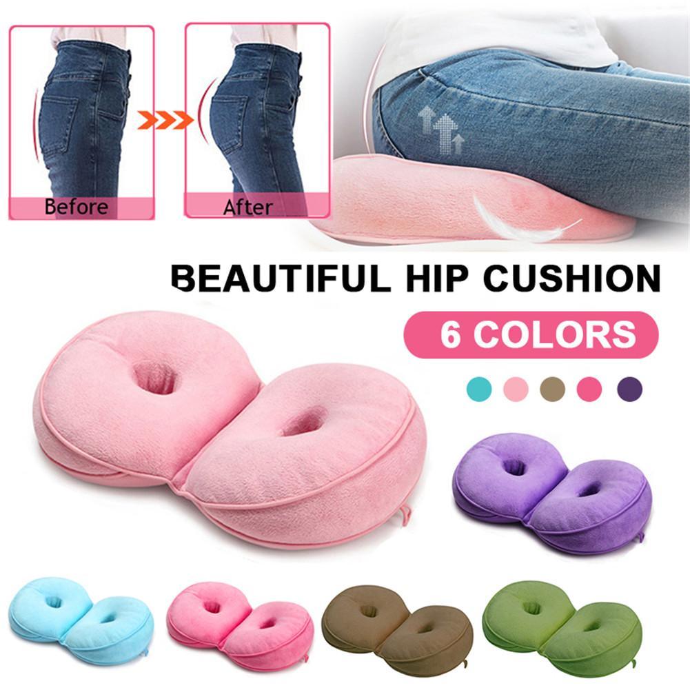 New Dual Comfort Cushion Posture That Corrects Memory Foam Pillow Health Seat Beauty Backseat Lifts Hip Push Up Plush Cushion