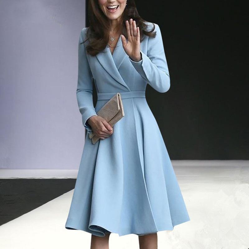 Fashion Elegant Blazer Dresses Ladies Office Forma lWear Kate Middleton Princess Suit Jacket High Quality Autumn Fall Blue Dress