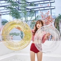 ins hot sequined round heart shape swimming ring giant pool lounge adult float mattres swimming circle 90cm