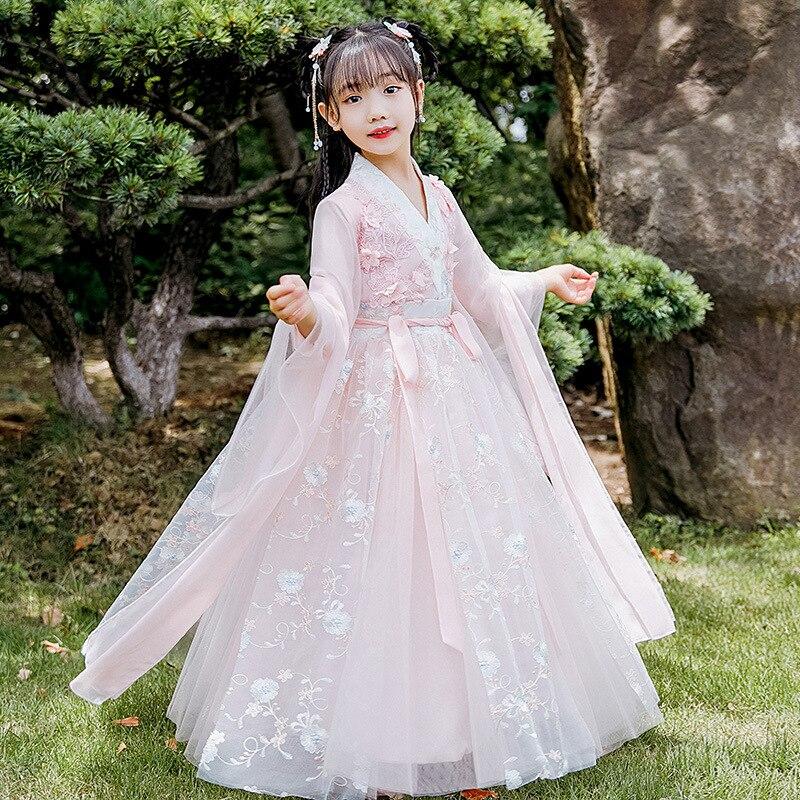 فستان رقص شعبي صيني تقليدي للبنات ، تنورة خيالية مطرزة ، ملابس شارع Hanfu