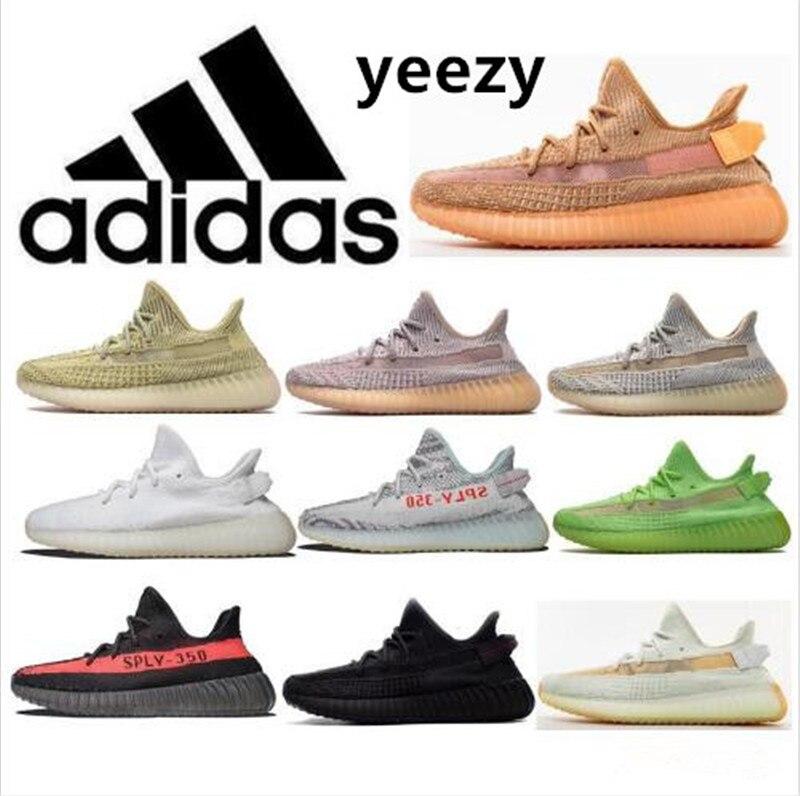 2021 New Zapatillas - Womens Mens Coconut Running Shoes 350 V2 High Quality Static Black Ash Clay V2