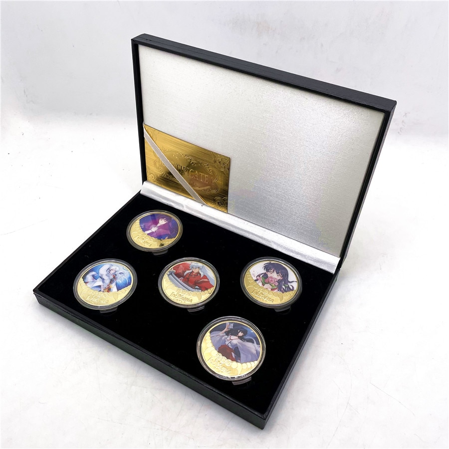 New Inuyasha Gold Plated Coin Collectibles with Coin Box Japanese Anime Challenge gold Coins Medal Souvenir Gift недорого