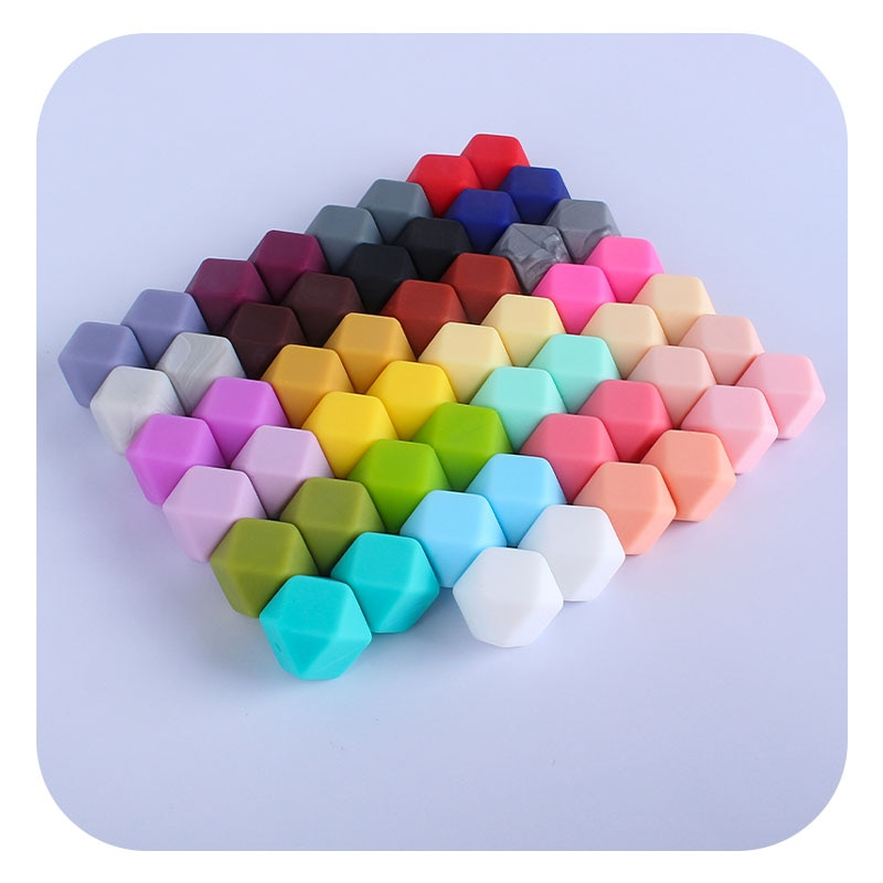 50Pcs 14mm Hexagon Silicone Teething Beads Baby Teether BPA Free DIY Baby Teether Pacifier Clip Chai