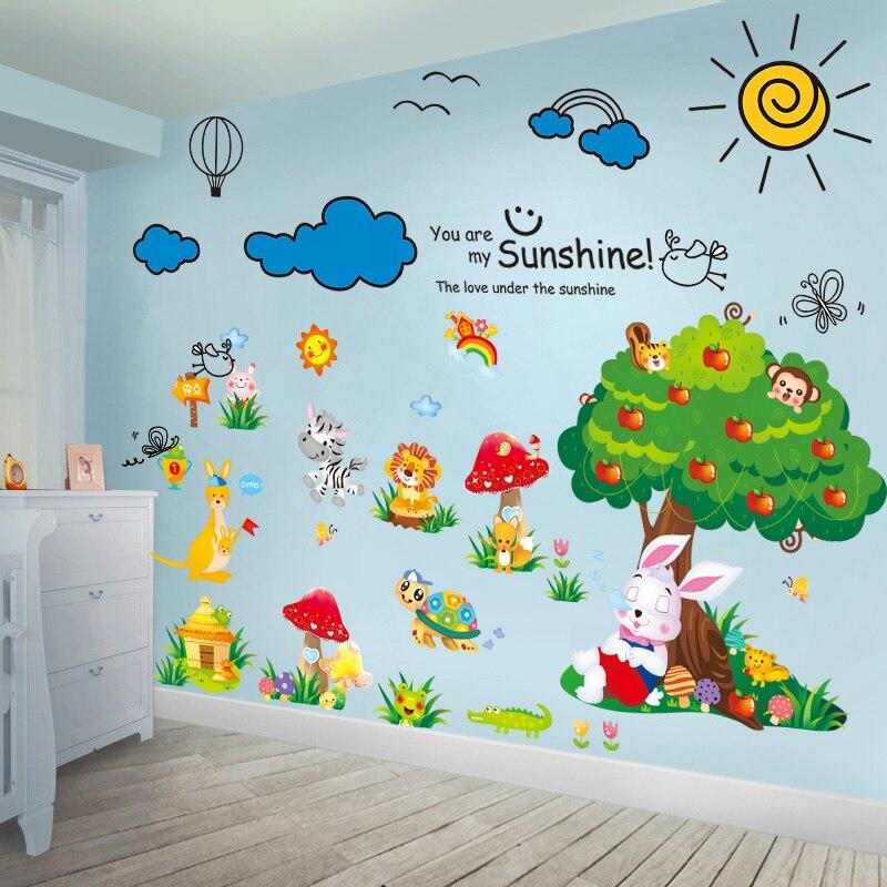 [Shijuekongjian] наклейки на стену с изображением черепахи кролика, дерева, животных DIY, Мультяшные облака, настенные наклейки для детей, украшение ...