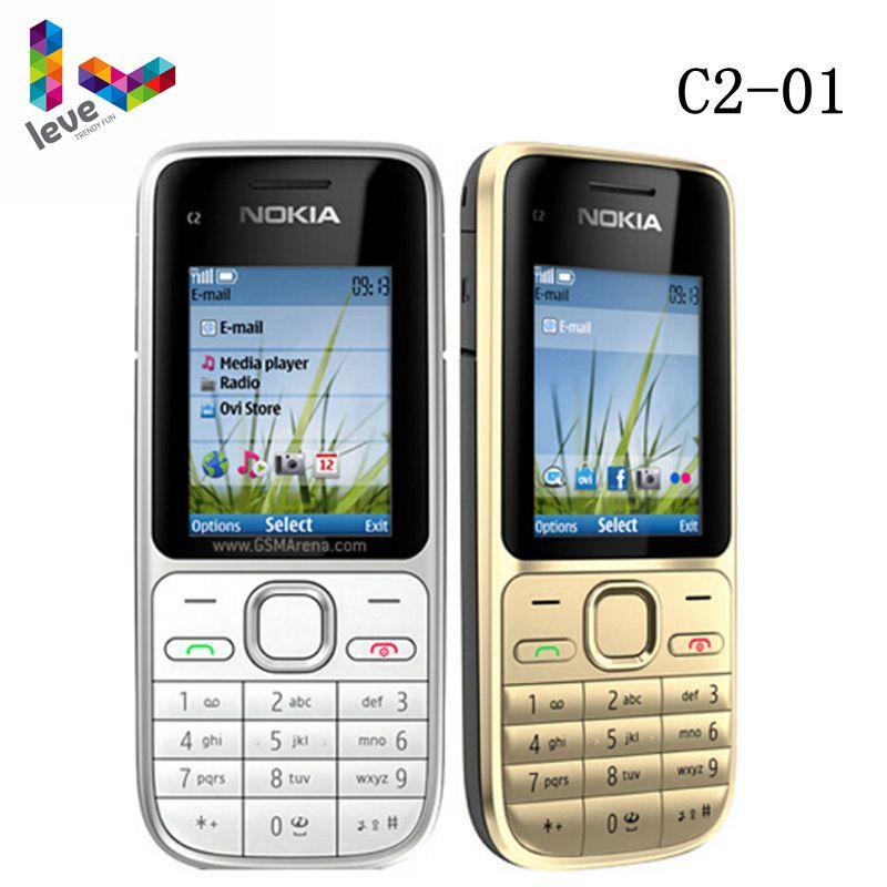 الأصلي نوكيا C2 C2-01 مقفلة GSM الهاتف المحمول الإنجليزية و العبرية لوحة المفاتيح دعم الشعار على زر الهواتف المحمولة المستخدمة